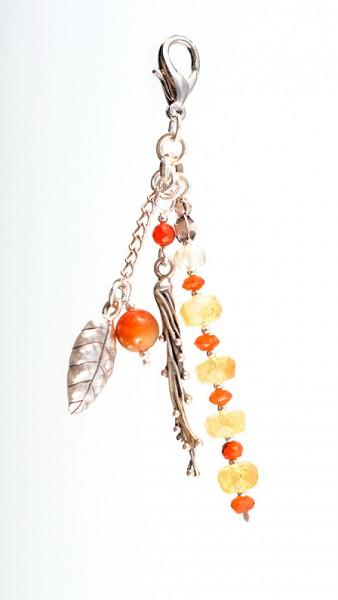 Taschenanhänger aus Silber, Karneol und Citrin