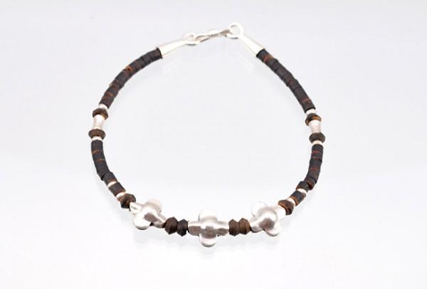 Armband mit Silber und Kokosnussschale