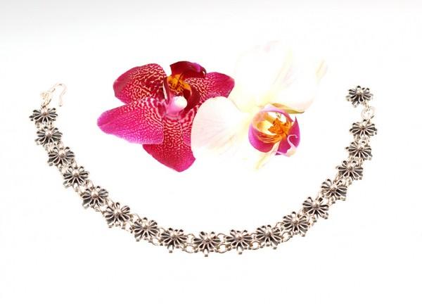 Silberfusskette, Motiv: Blumen