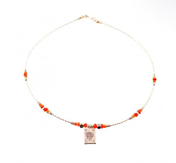 Silber, Karneol Halskette