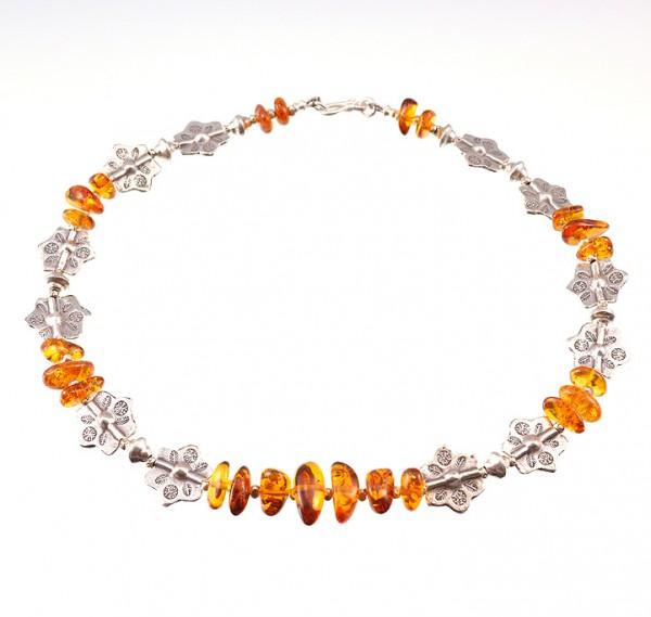 Edelsteine Halskette mit Silber