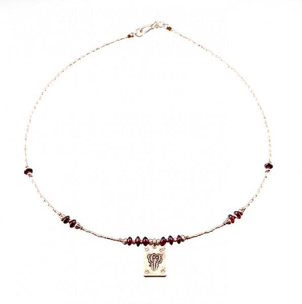 Silber, Granat Halskette