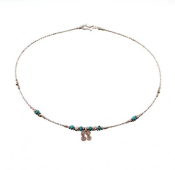 Halskette mit Silber und Türkis